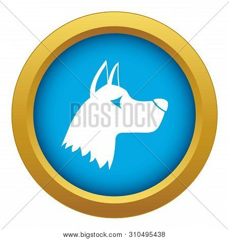 Doberman Dog Icon Blue Vector Isolated On White Background For Any Design