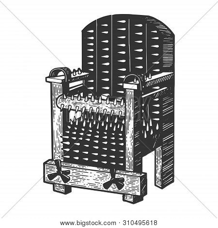 Iron Chair Medieval Torture Device Sketch Engraving Vector Illustration. Scratch Board Style Imitati
