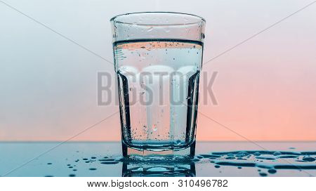 Carbonated Soda Water In Drinking Glass - Refreshing Fizzy Sparkling Mineral Liquid