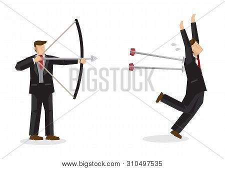 Business Concept Illustration Of A Businessman Shooting Arrows At Another Businessman, Trying To Eli