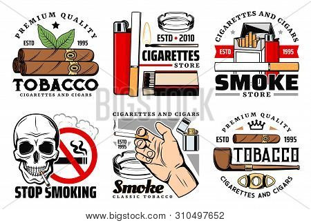 Tobacco Vector Icons Of Cigarettes, Cigars And Skull, Lighter, Matches And Smoking Pipe, Ashtray, Cu