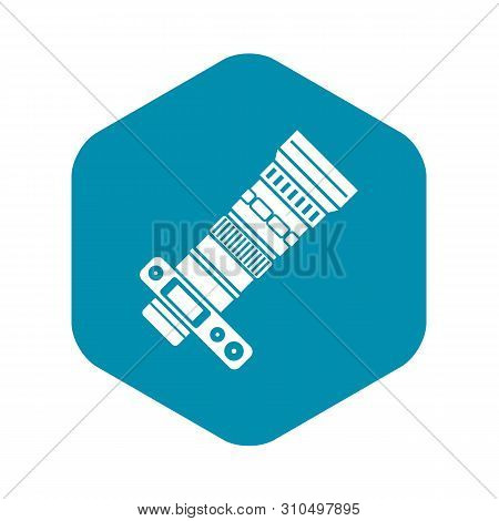 Dslr Camera With Zoom Lens Icon. Simple Illustration Of Dslr Camera With Zoom Lens Vector Icon For W