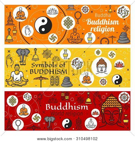 Buddhism Religious Symbols Of Oriental Religion Vector Design. Thin Line Buddha Statue, Buddhist Zen