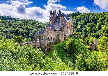 Eltz Castle Or Burg Eltz. Medieval Castle On The Hills Above The Moselle River. Rhineland-palatinate