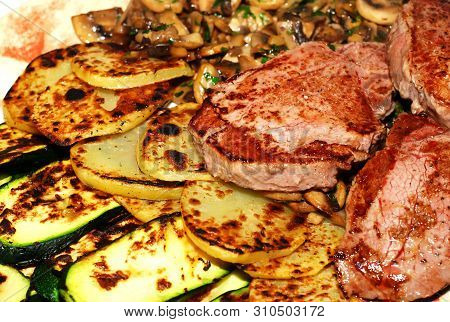 Beef Filets With Grilled Vegetables, Healthy Food .