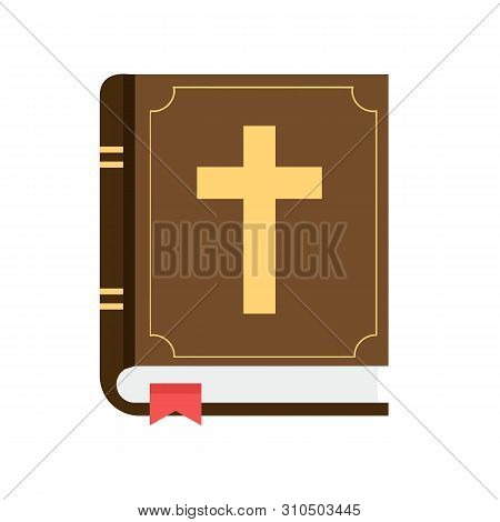 Bible Flat Design Isolated On White Background. Christian Holy Bible Book Icon. Vector Stock.