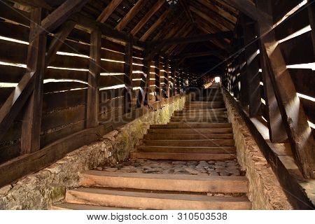 Sighisoara , Transylvania ; Old Wooden Students Covered Staircase