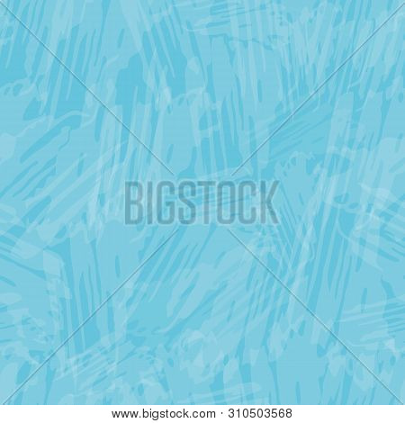 Delicate White Cirrus Cloud Effect Painterly Texture. Seamless Vector Pattern On Sky Blue Background