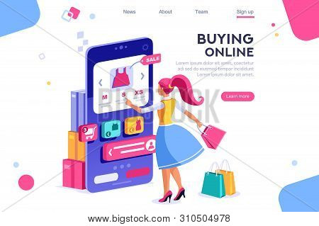 Concept, Buyer Graphic, Consumerism Design. Buyer, E-commerce Interface, Items. Layout Used For Cons