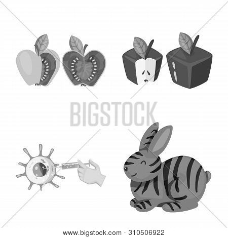 Bitmap Design Of Transgenic And Organic Icon. Set Of Transgenic And Synthetic Stock Symbol For Web.