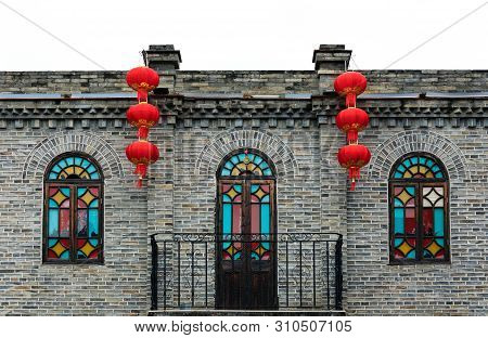 Fuzhou,fujian Province,china-06 Mar 2019:chinese Red Lantern Decorated On Traditional Old House