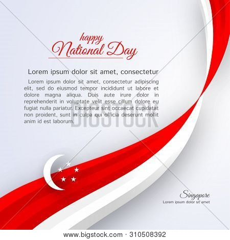 Poster Happy National Day Singapore Curved Ribbon Red White Lines On A Light Background Patriotic Ce