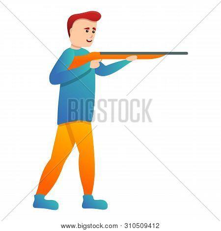 Happy Shotgun Shooter Icon. Cartoon Of Happy Shotgun Shooter Vector Icon For Web Design Isolated On