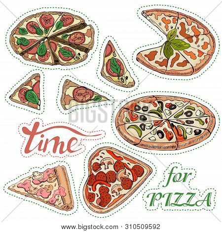 Sticker Pack With Whole And Sliced  Pizza. Hand Drawn Ink  And Colored Sketch. Perfect For Leaflets,