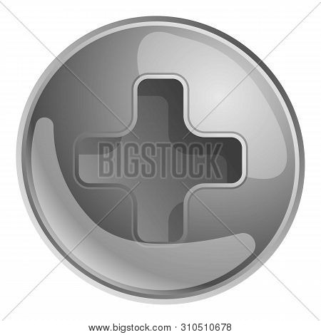 Silver Phillips Screw Head Icon. Cartoon Of Silver Phillips Screw Head Vector Icon For Web Design Is