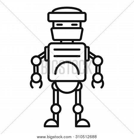 Futuristic Humanoid Icon. Outline Futuristic Humanoid Vector Icon For Web Design Isolated On White B