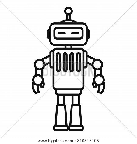 Metal Humanoid Icon. Outline Metal Humanoid Vector Icon For Web Design Isolated On White Background