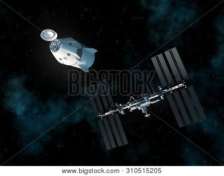 Commercial Spacecraft And International Space Station In Space. 3d Illustration.