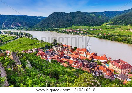 Wachau Valley, Austria. The Medieval Town Of Durnstein Along The Danube River.