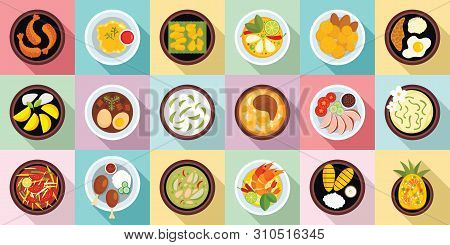 Thai Food Icons Set. Flat Set Of Thai Food Vector Icons For Web Design