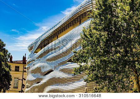 Nimes, France - April 29, 2019: Detail Of A Roman Museum Nimes, France. Museum Was Designed By Eliza