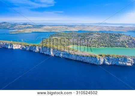 Aerial View Of The Salt Lake In Nature Park Telascica, Croatia, Dugi Otok, Big Stone Cliffs Above Th
