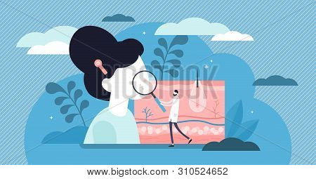 Dermatologist Vector Illustration. Flat Tiny Skin Doctor Persons Concept. Abstract Epidermis Illness