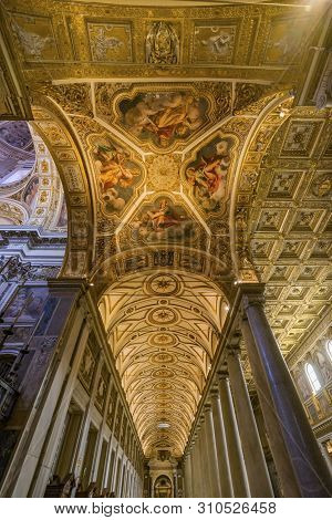 Rome, Italy - March 21, 2019 Ceiling Long Nave Pillars Basilica Santa Maria Maggiore Rome Italy. One