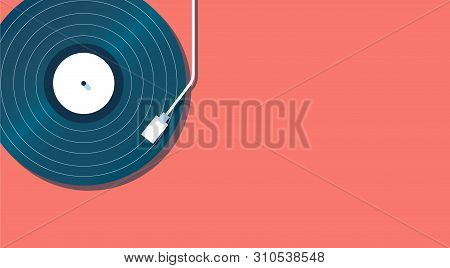 Vinyl Record Player On A Coral Background