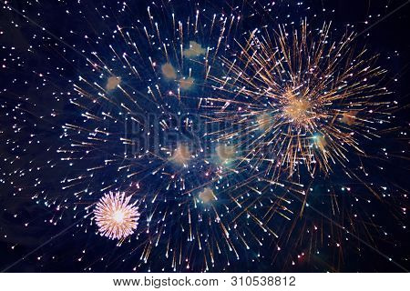 Cheap Beautiful Bright Fireworks, With Haze, Night Sky, Background Texture For Any Purpose