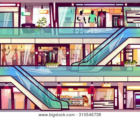 Mall Shop With Escalator Staircase Illustration. Menswear And Womenswear Fashion Clothes Boutique Sh