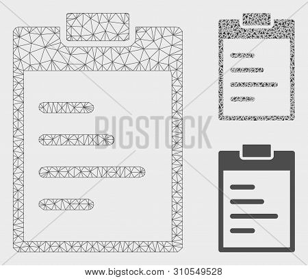 Mesh Inventory Pad Model With Triangle Mosaic Icon. Wire Frame Triangular Mesh Of Inventory Pad. Vec