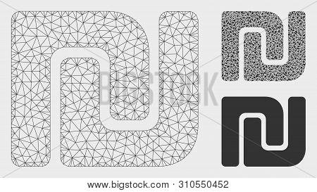 Mesh Israeli Shekel Model With Triangle Mosaic Icon. Wire Frame Polygonal Mesh Of Israeli Shekel. Ve