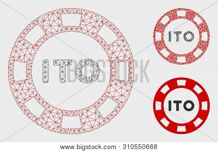 Mesh Ito Token Model With Triangle Mosaic Icon. Wire Frame Polygonal Mesh Of Ito Token. Vector Mosai