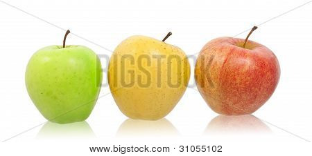 Green, Yellow And Red Natural Apples.