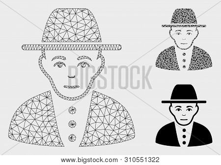 Mesh Jew Model With Triangle Mosaic Icon. Wire Carcass Triangular Mesh Of Jew. Vector Composition Of
