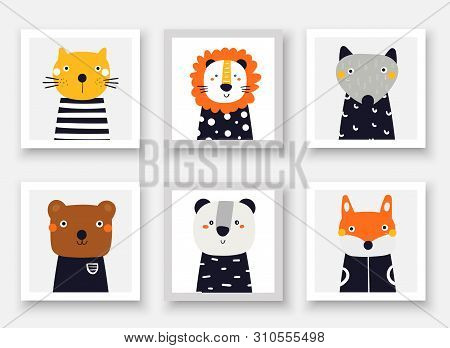 Animals Set Including Wolf, Bear, Fox, Panda, Cat, Lion. Cute Hand Drawn Doodle Cards, Postcard, Pos