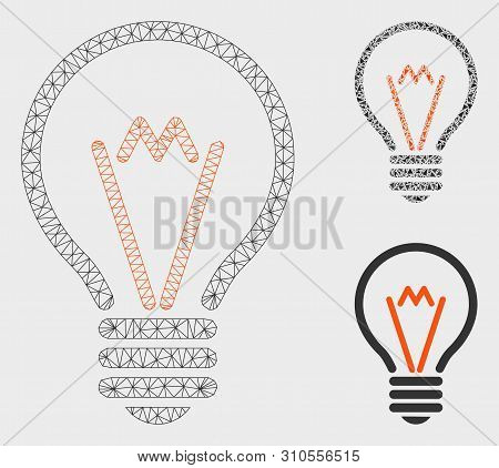 poster of Mesh lamp bulb model with triangle mosaic icon. Wire frame polygonal mesh of lamp bulb. Vector mosaic of triangle parts in variable sizes, and color tinges. Abstract flat mesh lamp bulb,