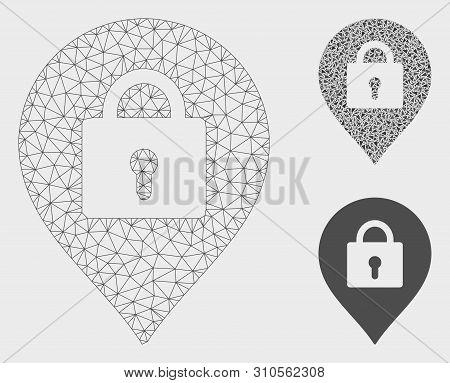 Mesh Locker Marker Model With Triangle Mosaic Icon. Wire Carcass Polygonal Mesh Of Locker Marker. Ve