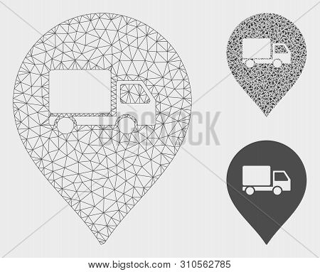 Mesh Lorry Marker Model With Triangle Mosaic Icon. Wire Carcass Triangular Mesh Of Lorry Marker. Vec