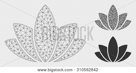 Mesh Lotus Flower Model With Triangle Mosaic Icon. Wire Carcass Polygonal Mesh Of Lotus Flower. Vect