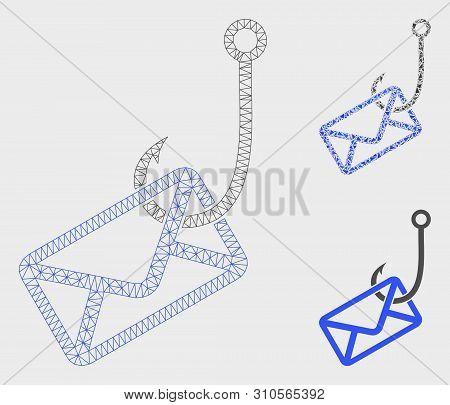 Mesh Mail Phishing Hook Model With Triangle Mosaic Icon. Wire Carcass Triangular Mesh Of Mail Phishi