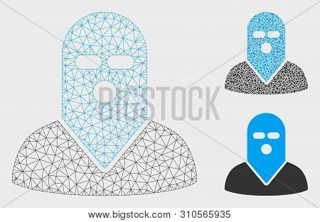 Mesh Masked Killer Model With Triangle Mosaic Icon. Wire Frame Polygonal Mesh Of Masked Killer. Vect