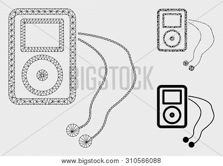 Mesh Mobile Media Player Model With Triangle Mosaic Icon. Wire Frame Triangular Mesh Of Mobile Media