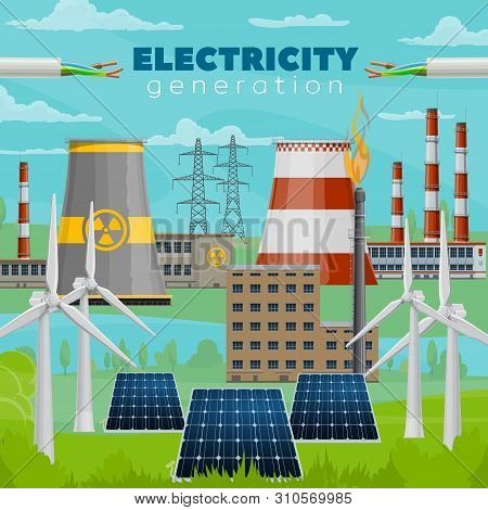 Electric Power Industry Vector Design Of Electricity Generation Power Plants. Wind Energy Turbines A