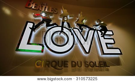 Las Vegas, Usa - October 9, 2017: Entrance To The Beatles Cirque Du Soleil Theater Love Show At The