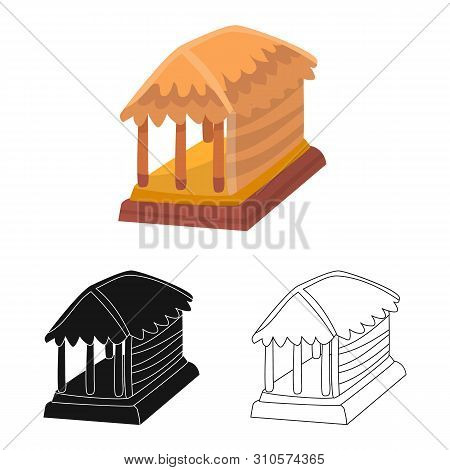 Vector Illustration Of Hut And House Icon. Set Of Hut And Gazebo Stock Symbol For Web.