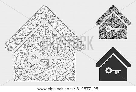Mesh Home Key Model With Triangle Mosaic Icon. Wire Frame Polygonal Mesh Of Home Key. Vector Mosaic