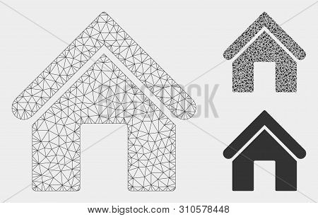 Mesh Home Model With Triangle Mosaic Icon. Wire Frame Triangular Mesh Of Home. Vector Mosaic Of Tria