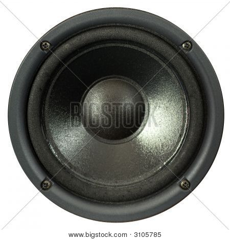 A loud speaker on a white background poster